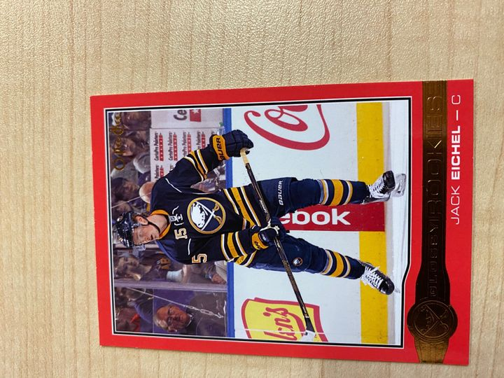 2015/16 O Pee Chee Jack Eichel Red Rookie card, number R-10