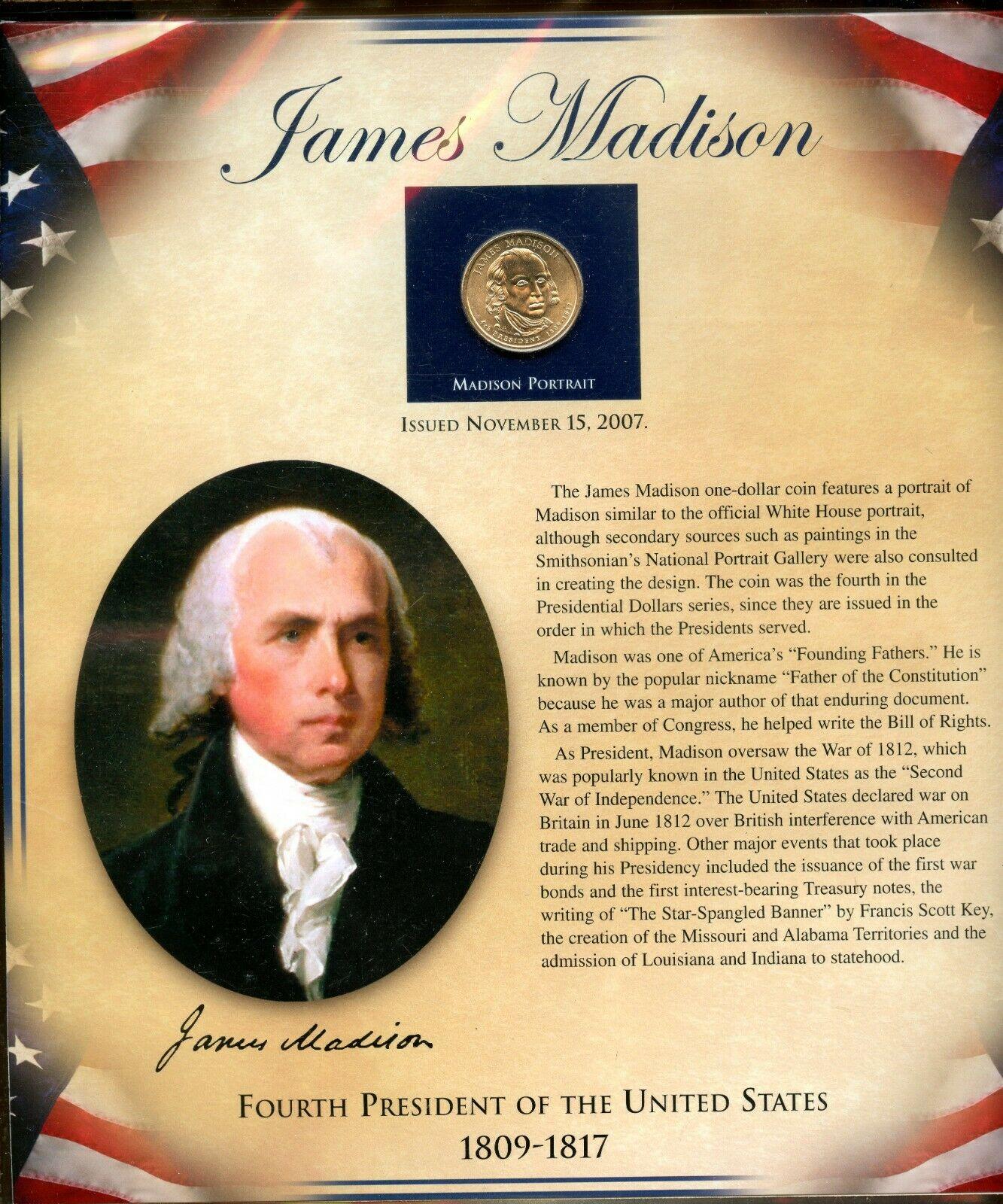 2007 P JAMES MADISON  PRESIDENT DOLLAR $50 BALLISTIC ROLL CH BU