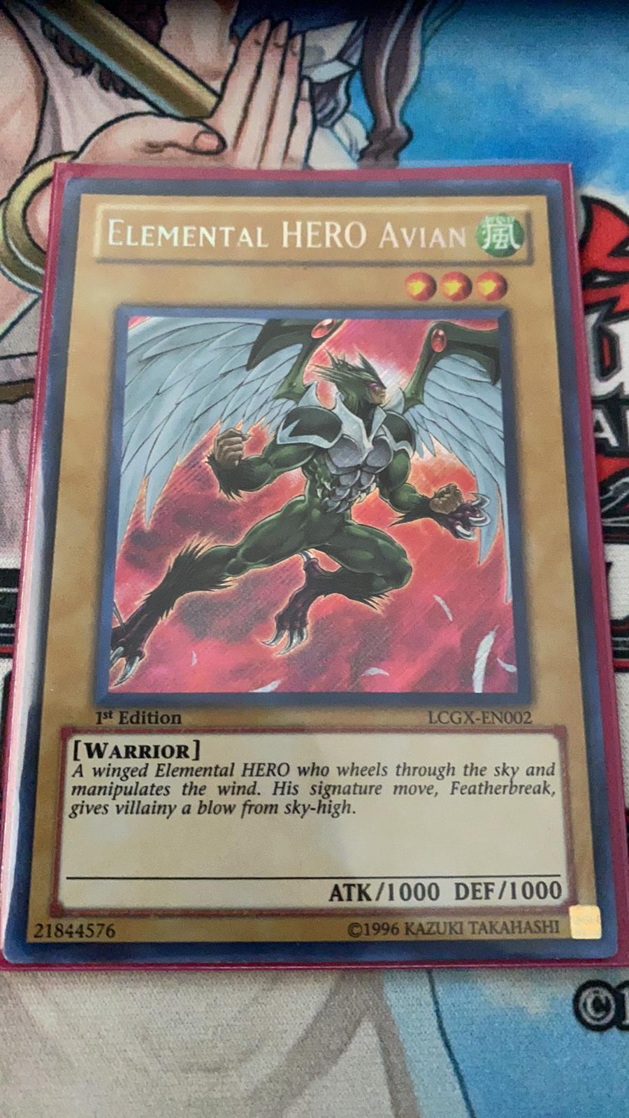 Elemental Hero Avian LCGX-EN002Alternate Art Secret Rare1st Ed Near Mint