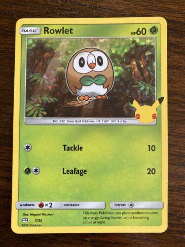 Rowlet 7/25 Holo Pokemon Card McDonald's 25th Anniversary Stamped Promo 2021