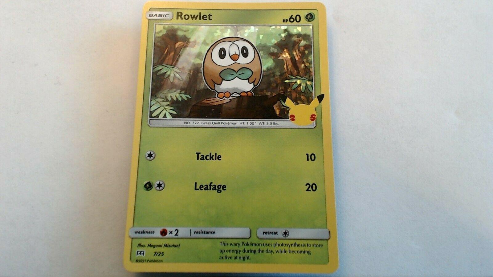 Pokemon Rowlet HOLO 7/25 McDonald's 25th Anniversary NM