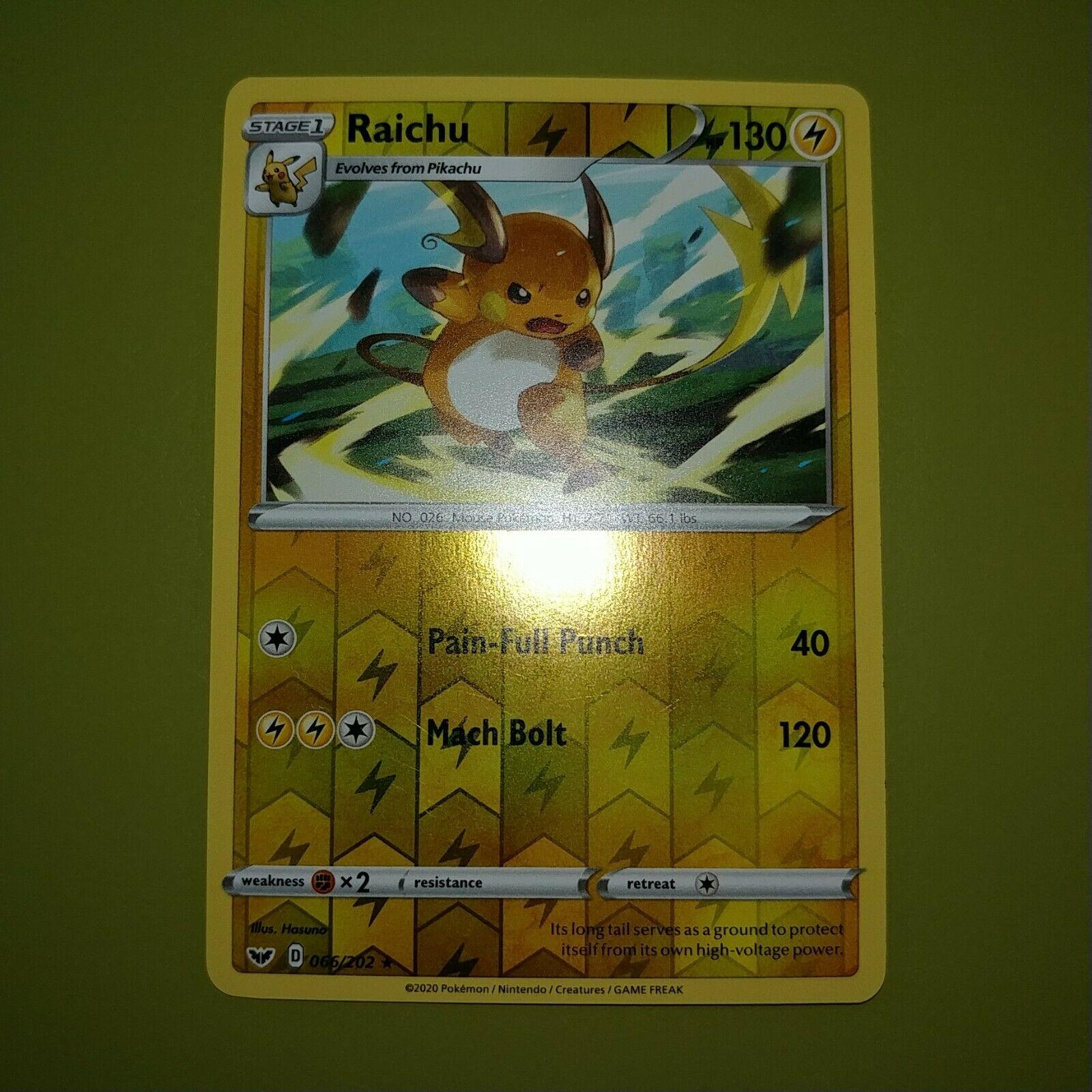 2x Raichu Pokemon Sword /& Shield Rare 66//202 NM//M Pack Fresh