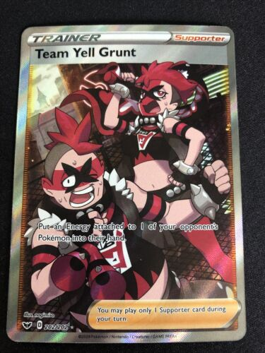 TEAM YELL GRUNT FULL ART MINT! 202//202 SWORD AND SHIELD!! FROM PACK TO SLEEVE!