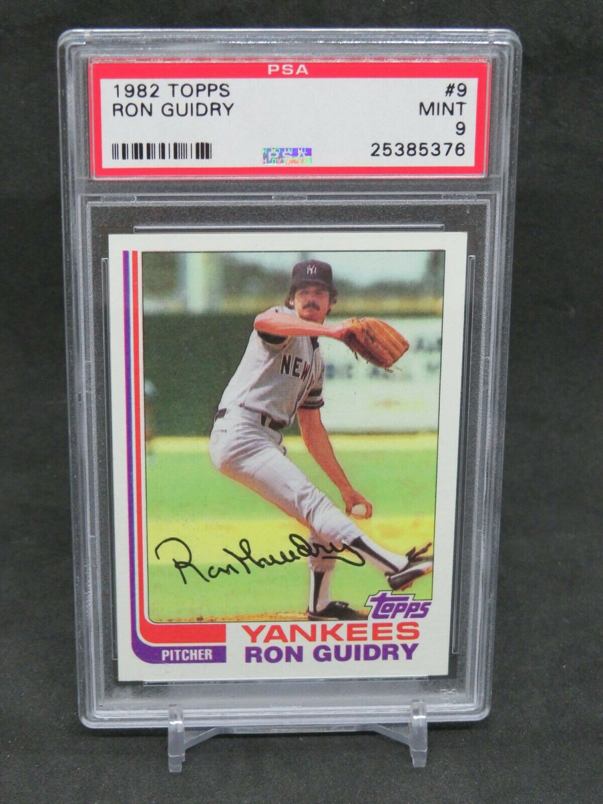 1982 TOPPS RON GUIDRY #9 PSA 9 MINT NEW YORK YANKEES MS - Image 1