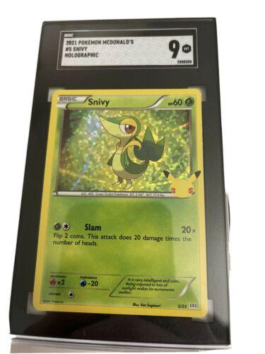 2021 SNIVY HOLO 5/25 McDonald's Pokemon Card 25th Anniversary SGC 9 MINT