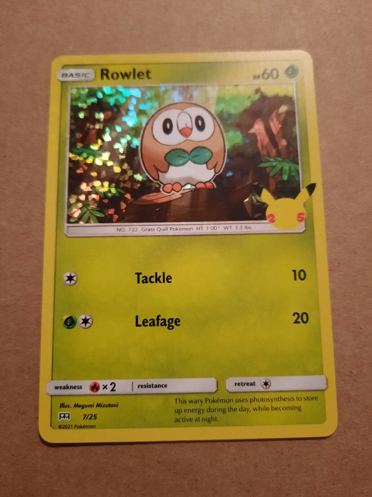 Rowlet McDonald's Happy Meal Pokemon Card Holographic 2021 7/25 25th Anniversary