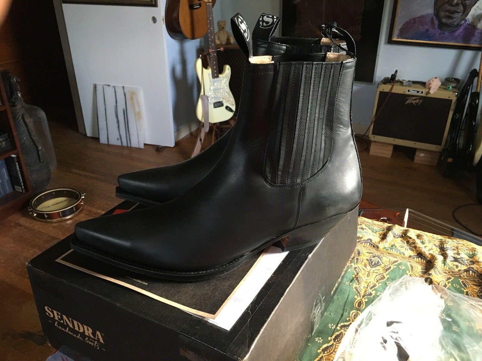 Sendra 8279 Unisex Cowboy Boots Dark Brown Leather Western Biker Handmade