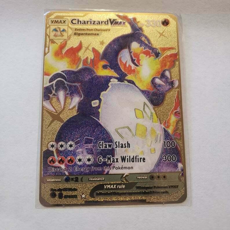 Shining Charizard VMAX Custom Gold Metal Pokemon Card.