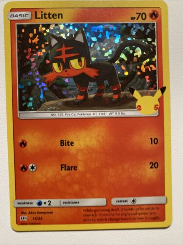 Pokemon Holo McDonald's 25th Anniversary Litten 15/25