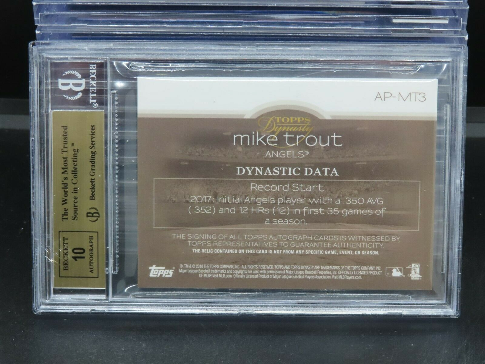 2018 Topps Dynasty Mike Trout GU Patch Auto Autograph #3/10 BGS 9.5/10 M581 - Image 2