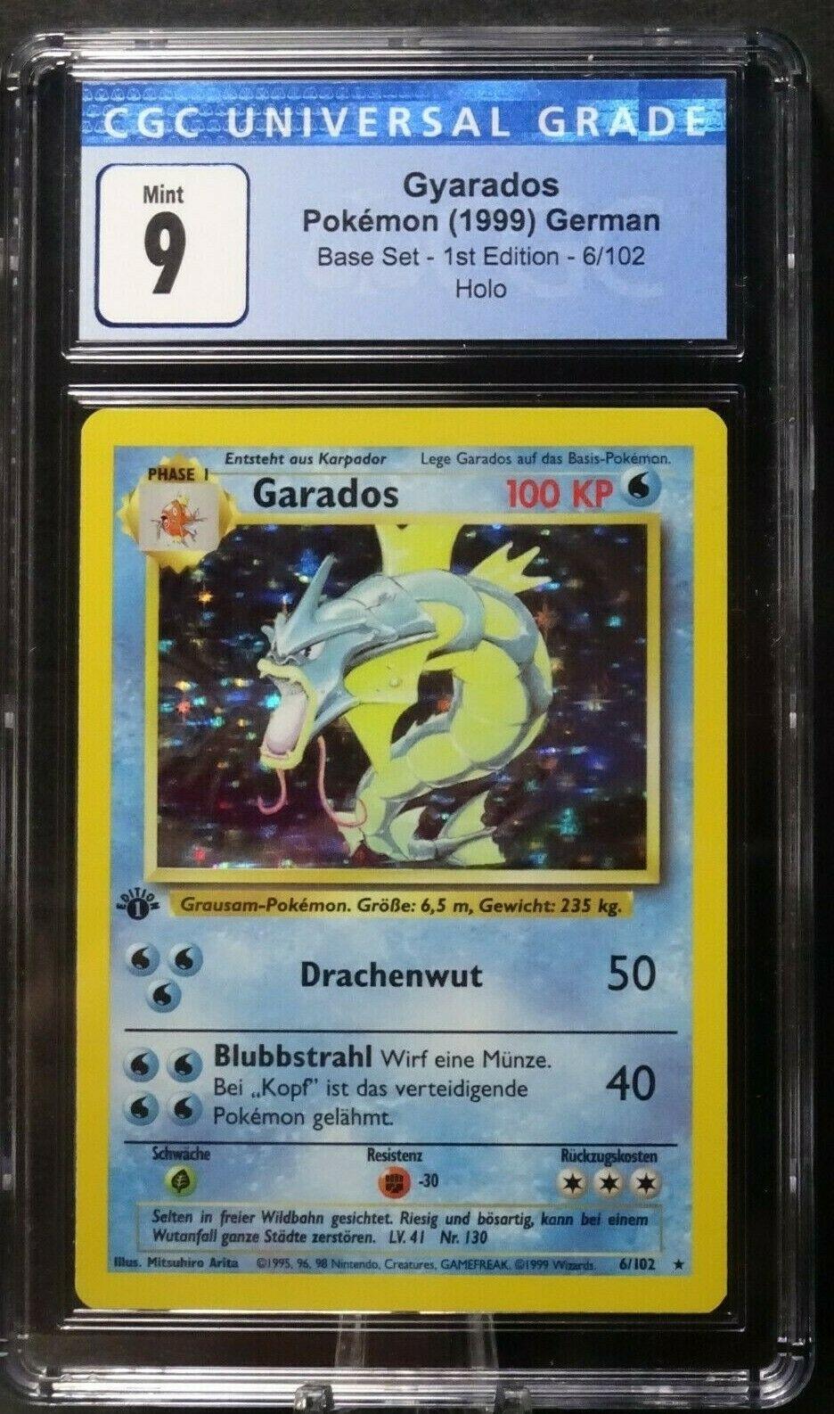 1999 GERMAN GYARADOS GARADOS Base Set 1ST EDITION Holo Rare Pokemon 6/102 CGC 9 - Image 1