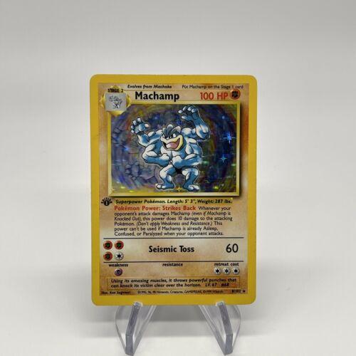 1st Edition Machamp - Holo 8/102 - Vintage 1999 English Base Set Pokemon Card - Image 1