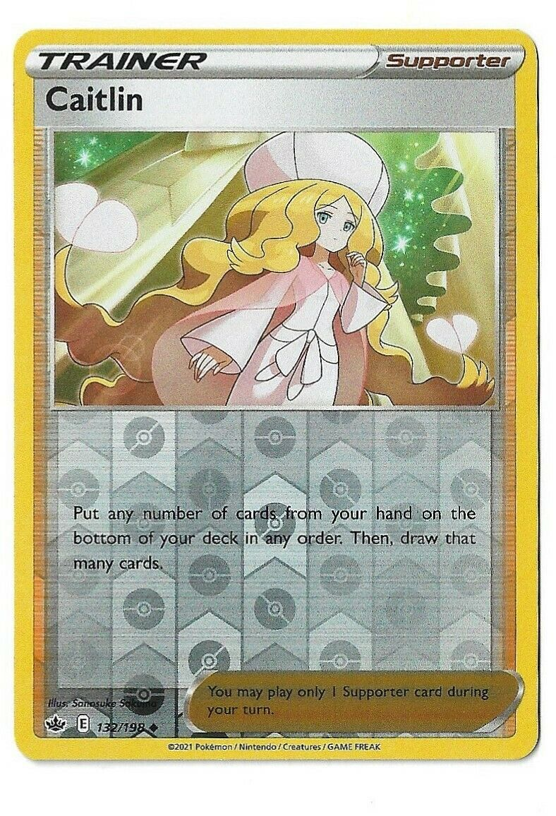 Pokemon TCG Chilling reign reverse holo Caitlin Trainer Supporter 132/198 NM