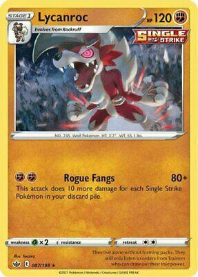 x1 Lycanroc - 087/198 - Holo Rare Pokemon SS06 Chilling Reign M/NM