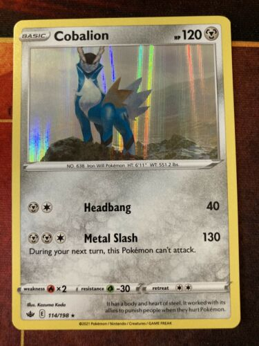 Cobalion 114/198 Holo Rare Chilling Reign Pokemon Card-NM