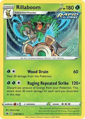x1 Rillaboom - 018/198 - Holo Rare - Reverse Holo Pokemon SS06 Chilling Reign M/