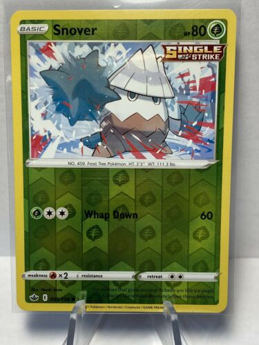Pokemon Trading card game Chilling reign reverse holo Snover 009/198 NM