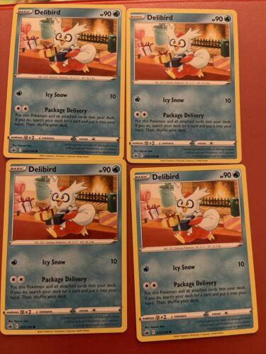 x4 Delibird - 032/198 - Common - Reverse Holo Pokemon SS06 Chilling Reign M/NM