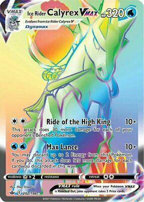 x1 Ice Rider Calyrex VMAX - 202/198 - Secret Rare Pokemon SS06 Chilling Reign M/