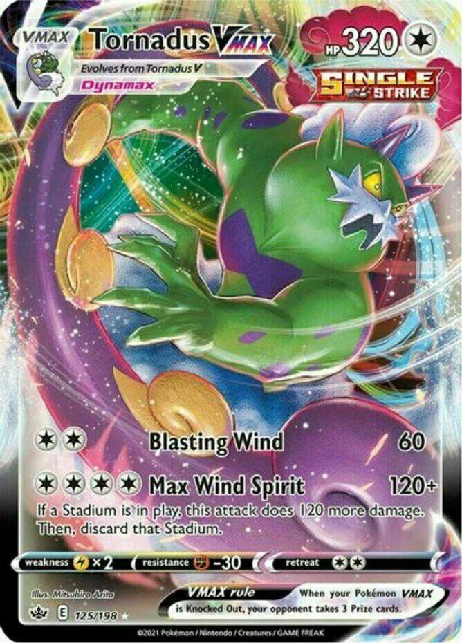 Tornadus VMAX - 125/198 Holo Pokemon Card Chilling Reign