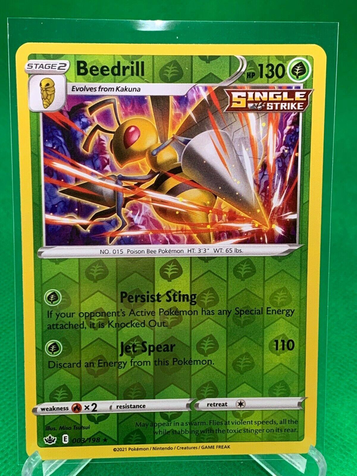 Pokemon - Beedrill - Chilling Reign - 003/198 - Reverse Holo Rare