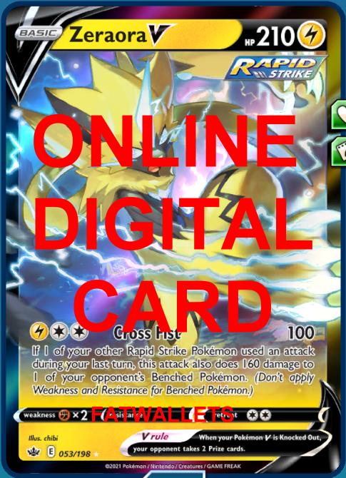 1X Zeraora V 053/198 Chilling Reign Pokemon Online Digital Card