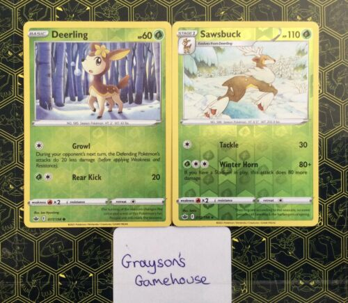Deerling and Sawsbuck - 011/198 + 012/198 - Chilling Reign - Rev Holo Set - NM