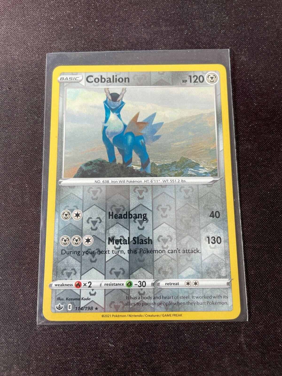Pokemon TCG Chilling Reign 114/198 Cobalion Card Fresh Reverse Holo Mint Rare