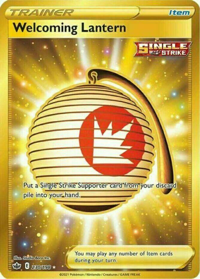 Welcoming Lantern Gold Rare Secret 230/198 Holo Pokemon Card Chilling Reign