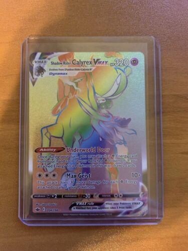 Pokémon TCG Shadow Rider Calyrex VMAX Rainbow Secret Rare 204/198 Chilling Reign