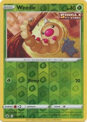 Pokemon Card Chilling Reign 001/198 Weedle Reverse Holo Common
