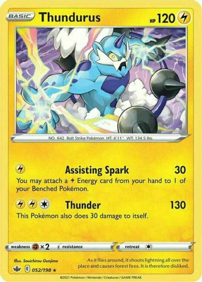 Pokemon - Thundurus - 052/198 - Holo Rare - Chilling Reign - NM/M