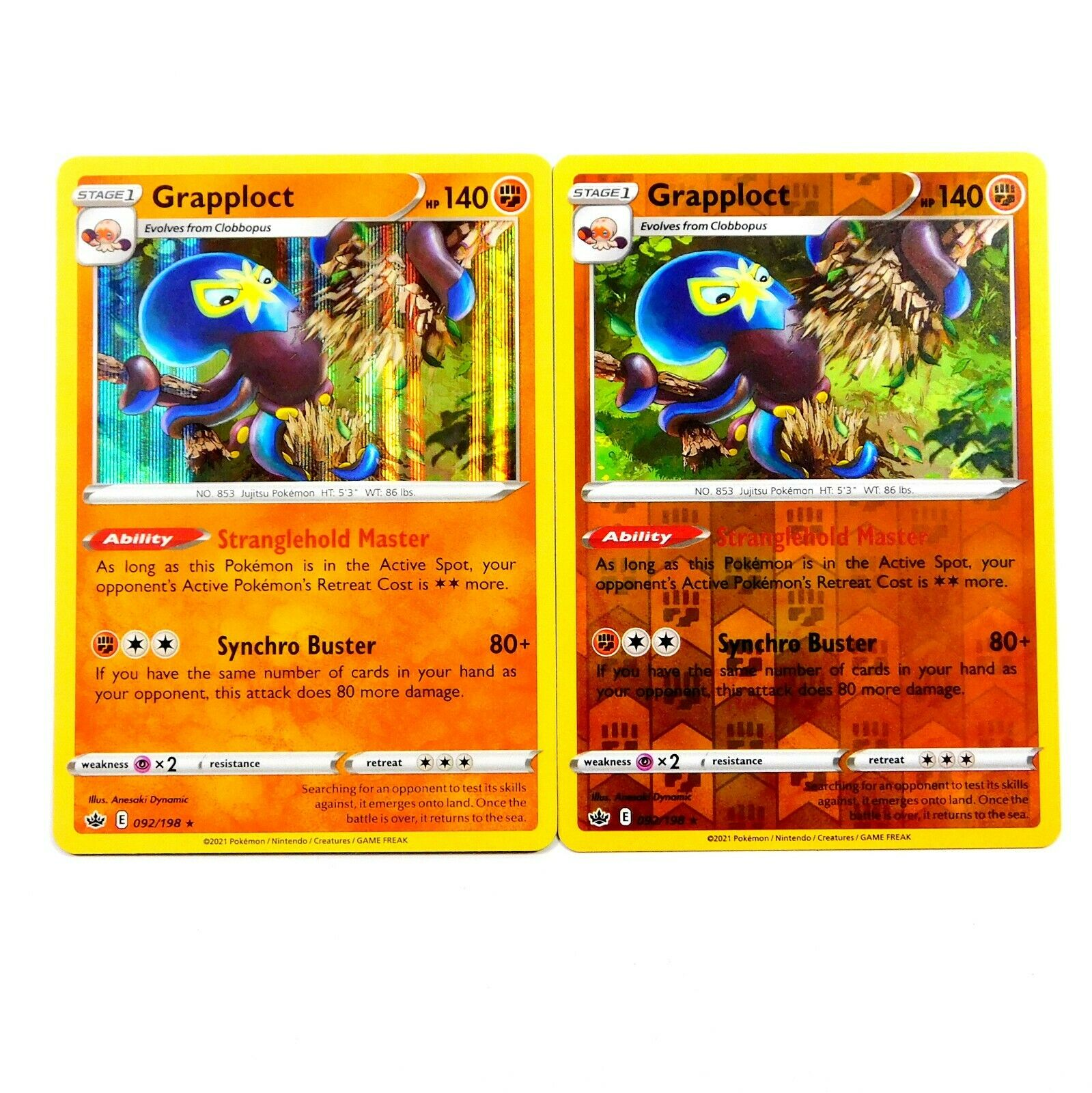 Grapploct 092/198 Holo - Reverse Holo Set Chilling Reign Pokemon Card NM/M