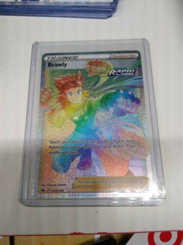 Pokemon Chilling Reign Hyper Rainbow Secret Rare Trainer Brawly 212/198 NM