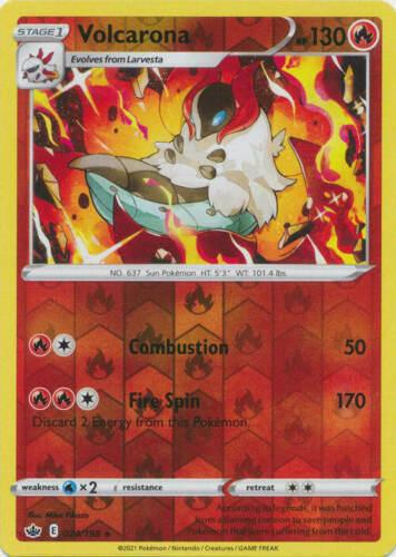 Pokemon - Volcarona - 024/198 - Reverse Holo Rare - Chilling Reign - NM/M