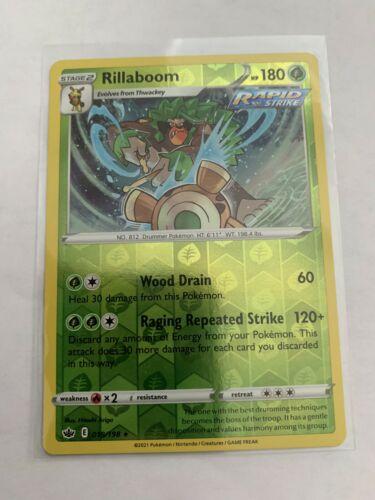 Pokemon Card Chilling Reign Rillaboom - 018/198 - Rare Reverse Holo NM/ Mint