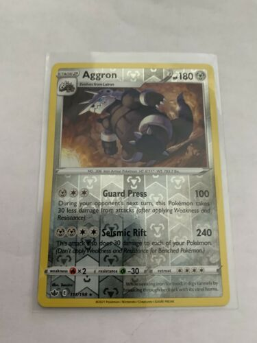 Pokemon Card Chilling Reign Aggron - 111/198 - Rare Reverse Holo NM/ Mint