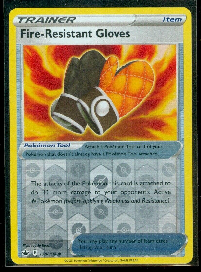 Pokemon FIRE-RESISTANT GLOVES 138/198 Chilling Reign - Rev Holo - MINT