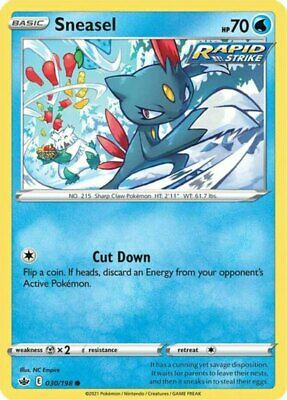 x4 Sneasel - 030/198 - Common - Reverse Holo Pokemon SS06 Chilling Reign M/NM
