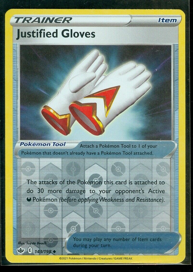 Pokemon JUSTIFIED GLOVES 143/198 Chilling Reign - Rev Holo - MINT