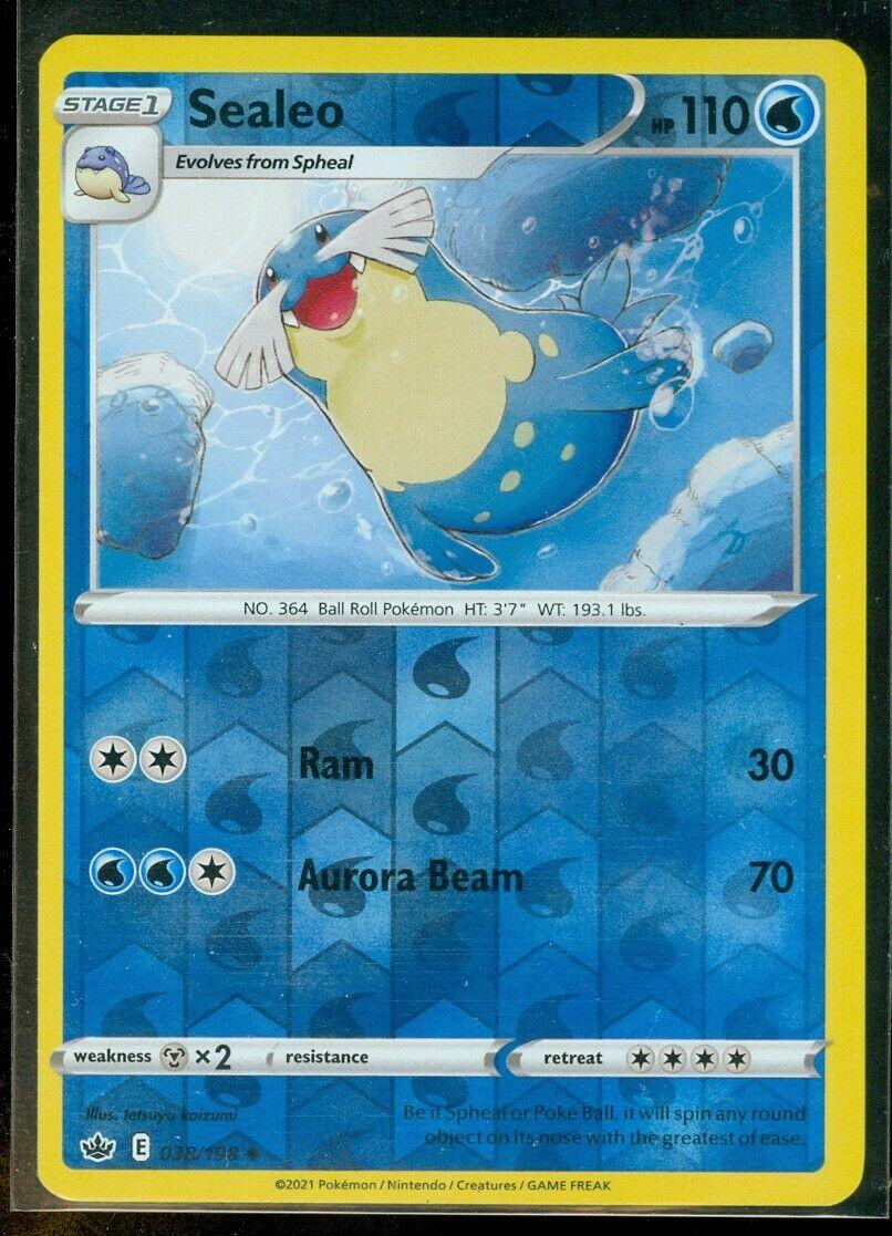 Pokemon SEALEO 038/198 Chilling Reign - Rev Holo - - MINT