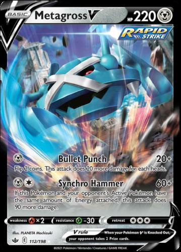 Metagross V - 112/198 Holo Pokemon Card Chilling Reign
