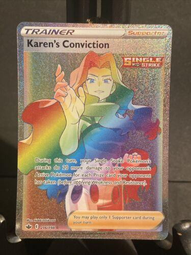 MINT Karen's Conviction Rainbow Secret Rare 216/198 Pokemon Chilling Reign Fresh