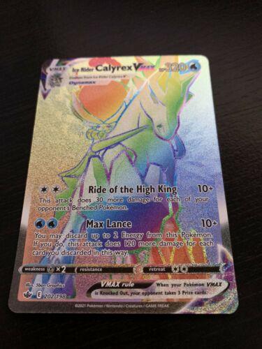 Ice Rider Calyrex Vmax Rainbow Rare 202/198 Chilling Reign Pokemon Card NM