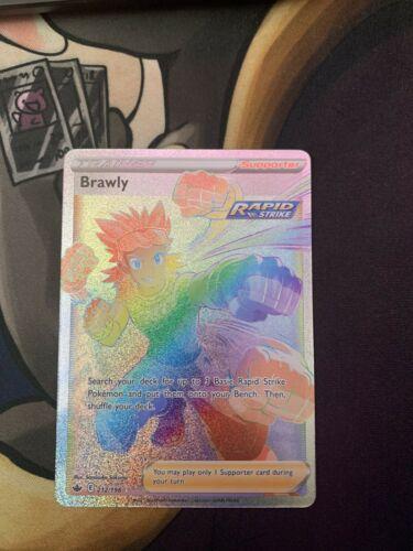 Pokemon Brawly Full Art Rainbow Secret Rare 212/198 Chilling Reign Set