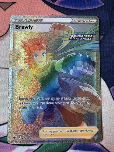 Pokemon TCG Brawly Full Art Rainbow Secret Rare 212/198 Chilling Reign Set NM+