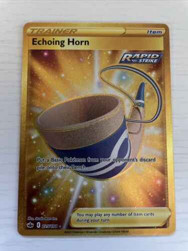 Pokemon Echoing Horn 225/198 Gold Secret Rare Chilling Reign NEW IN-HAND