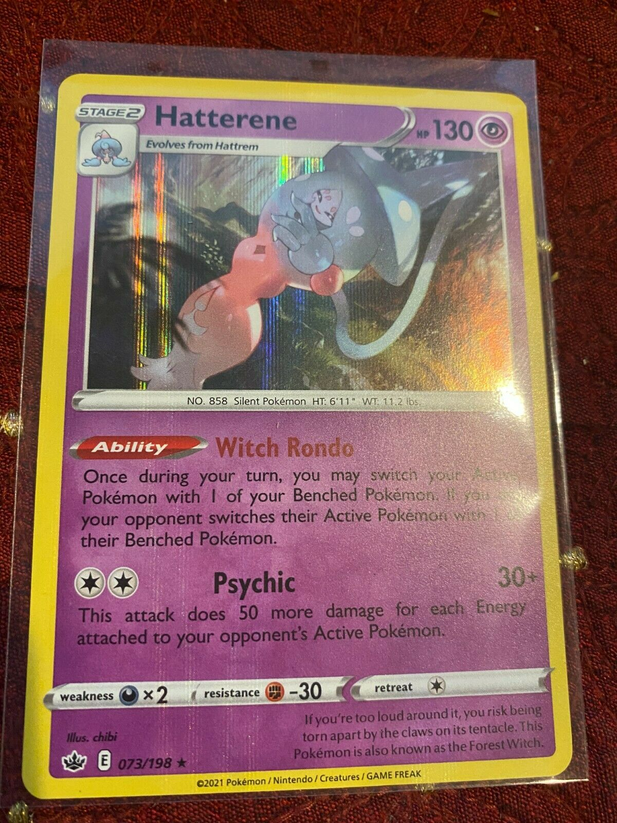 Hatterene 073/198 Holo Rare Chilling Reign Mint Pokemon TCG