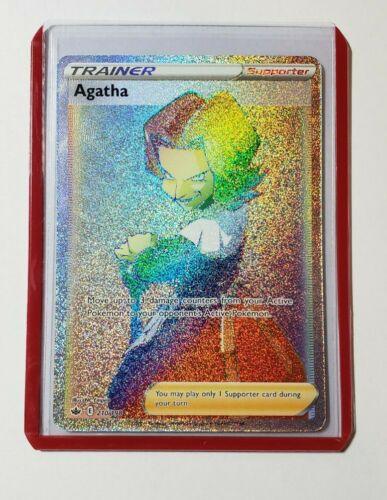 Pokemon Agatha 210/198 Full Art Rainbow Rare Chilling Reign + Top Loader