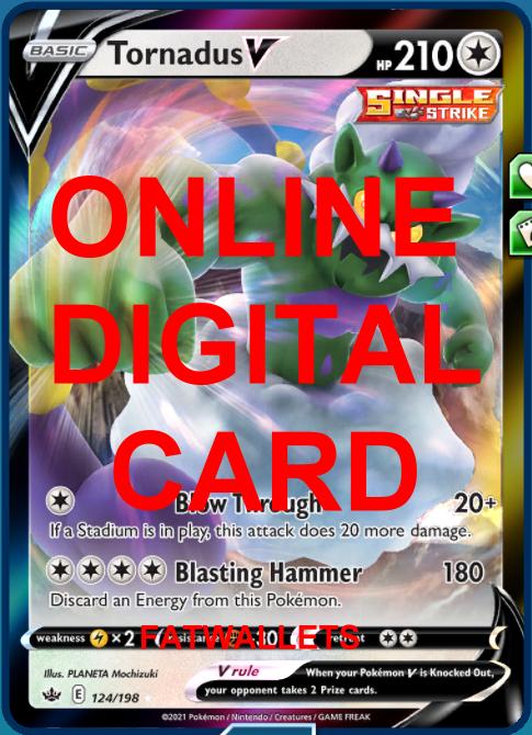 1X Tornadus V 124/198 Chilling Reign Pokemon Online Digital Card